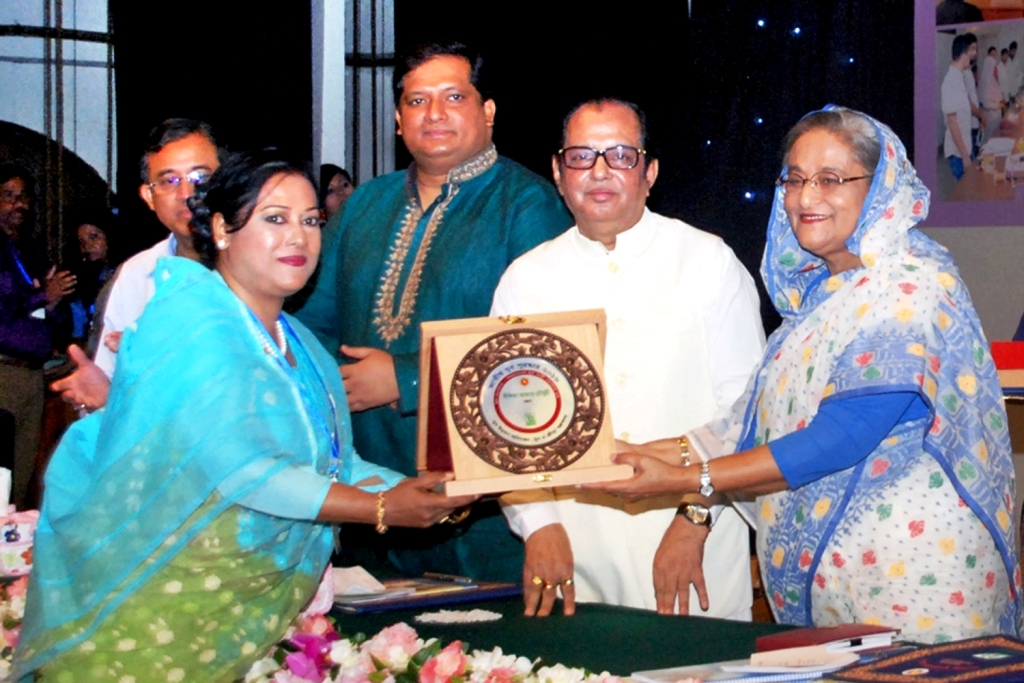 Agrajattra Chief Executive/President Ms. Neelima Akther Chowdhury receiving Awards for Best National Youth Organizer Award – 2016 from Hon'ble Prime Minister Sheikh Hasina, The peoples of Gov't of Bangladesh.