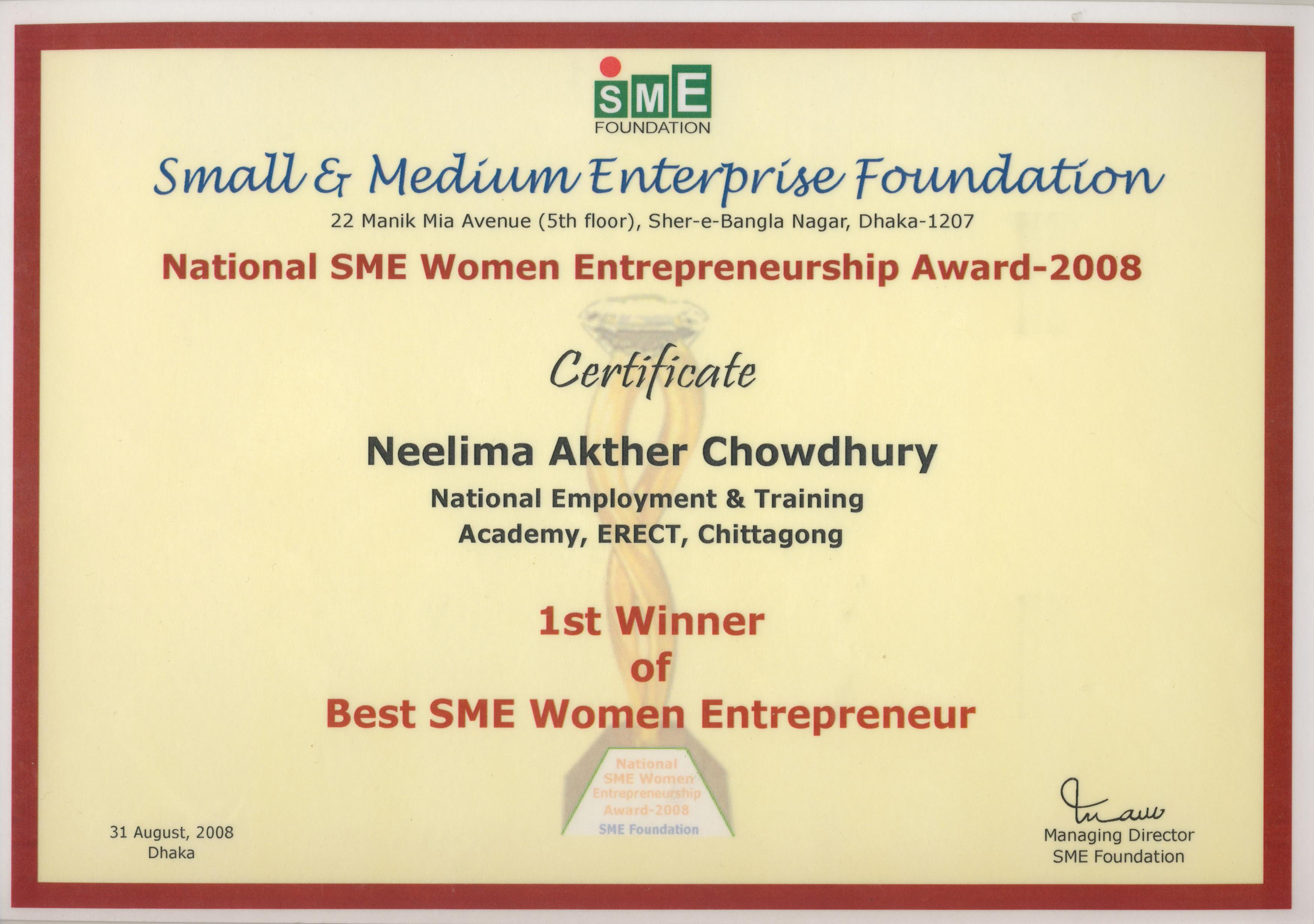 Best SME Foundation Award 2008